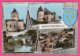 C-P-M-(16.Charente)-lu-3- Montmoreau-multie-vue-l'église,le Château,pont Sur La TUDE-Vue Générale. - Frankrijk