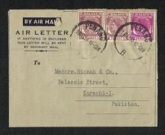 Malaya Penang 1954 Air Mail Postal Used Aerogramme Cover With Stamps - Penang