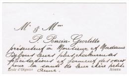 Mr & Mme P. PONCIN-GEORLETTE ECOLE D'OIGNIES AISEAU - Cartes De Visite