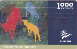 Iceland, ICE-C-02, 1000 Kronur,  Johann Briem´s Painting, 2 Scans. Issued : 03/00 Expiry : 03/02 - Iceland