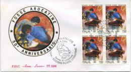 ITALIA - FDC  ROMA LUXOR 1994 -  AVVENIMENTI STORICI - FOSSE ARDEATINE - QUARTINA - ANNULLO SPECIALE - FDC