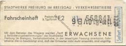 Deutschland - Freiburg im Breisgau - Stadtwerke Freiburg Verkehrsbetriebe - Fahrschein aus einem Fahrscheinheft Erwachse