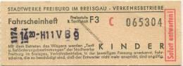 Deutschland - Freiburg im Breisgau - Stadtwerke Freiburg Verkehrsbetriebe - Fahrschein aus einem Fahrscheinheft Kinder