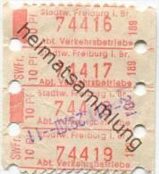 Deutschland - Freiburg im Breisgau - Stadtwerke Freiburg Abt. Verkehrsbetriebe - Fahrschein 4 x 10Pf.