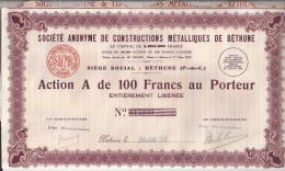 Action Société Anonyme De Construction Métalliques De Béthune : N°14839. (Voir Commentaires) - Industrie