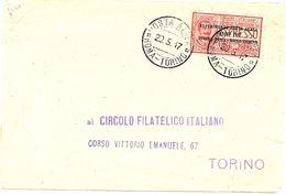 LSAU7 -  V.E.III PREMIER ESSAI DE POSTE AERIENNE VOL TORINO/ROMA/TORINO 20 MAI 1917 SUR ENVELOPPE - 1900-44 Victor Emmanuel III