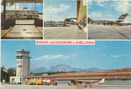 AIRPORT ,BRNIK , LJUBLJANA, JAT CARAVELLE, Vintage Old Postcard - Aerodromi