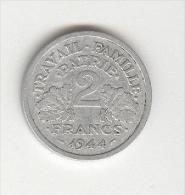 2 Francs Etat Fran�ais 1944 B
