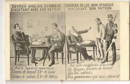 """S1697 - Ouvrier Anglais Syndiqué - Ouvrier Belge Non Syndiqué """" Lutte Syndicale"""" - Syndicats"""