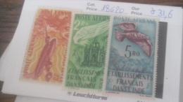 LOT 236207 TIMBRE DE COLONIE INDE NEUF* N�18 A 20 VALEUR 31,6 EUROS