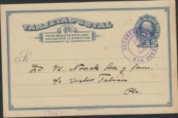 O) 1924 COSTA RICA, POSTAL STATIONARY, COLON 2 CENTIMOS VIOLET, FROM SAN JOSE, XF - Costa Rica