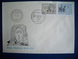 Hungary, FDC, 1977, Isaac Newton, Famous Persons, Architecture - FDC