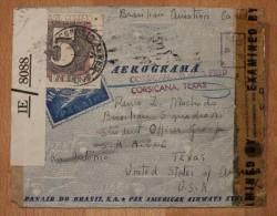 Enveloppe Cover Aerograma Pour San Antonio Texas Affranchissement Composé Panair Corsicana Censures - Airmail (Private Companies)