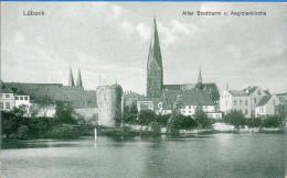 Lübeck - S/w Alter Stadtturm Und Aegidienkirche - Luebeck