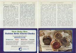 1970 - Sveglie WESTCLOX  -  2 Pagine Pubblicità Cm. 13 X 18 - Sveglie