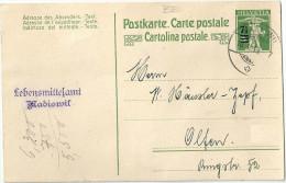 """PK 66  """"Lebensmittelinspektorat Madiswil"""" - Olten           1919 - Postwaardestukken"""