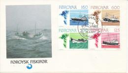 Faroe Islands FDC 28-4-1977 Complete Set Of 4 Fishing Vessels With Cachet - Faroe Islands