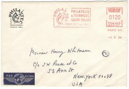 FRANCIA - France - 1964 - Par Avion - EMA - Flamme Rouge Philatec Paris - Viaggiaga Da Paris Per New York - Affrancature Meccaniche Rosse (EMA)