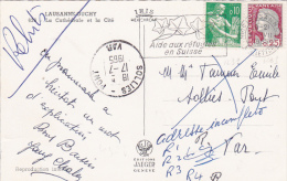 Marianne DECARIS OBLITÉRÉE En SUISSE - Obl LAUSANNE + Moissonneuse Sur CP NON TAXÉE > SOLIES PONT VAR - REBUTS - 1960 Marianne Van Decaris