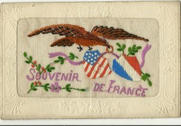 """CPA   Brodée """"Souvenir De France """"  Oiseau  Drapeaux ( Carte Un Peu Défraîchie  état) - Brodées"""
