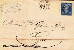 1863 LAC N° 22 GC 2240 MARSEILLE LYON GUERIN AMBULANTS SERVICES MARITIMES MESSAGERIES IMPERIALES TRANSIT 2601 - Marcophilie (Lettres)
