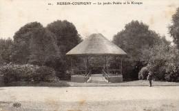 Cpa 1914,  HERSIN COUPIGNY, Pas De Calais, Le Jardin Public Et Le Kiosque  (33.20) - France