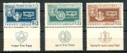 Israel - 1949, Michel/Philex No. : 19/20/21, - MNH - *** - Sh. Tab - Neufs (avec Tabs)
