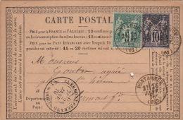 Précurseur, Type Sage 15cts, Pontaumur 1878 - Postmark Collection (Covers)
