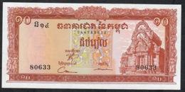 CAMBODIA  P11e   10   RIELS   1956   Signature 11     UNC. - Cambodia