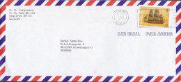 """Bermuda Airmail Par Avion HAMILTON 1989 Cover Brief To Denmark $1 """"L'Hermine"""" (Ohne Jahreszahl) Ship Wreck Stamp - Bermudes"""