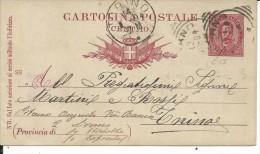 CPC17-93 -INTERO POSTALE - C17 - CARTOLINA BIGOLA III TIRATURA MILL.1893 - VIAGGIATA DA LIVORNO A TORINO - 1878-00 Umberto I