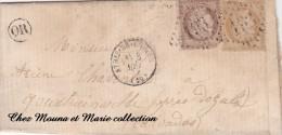 1873 - LAC N° 54 59 - GC 193 - DOZULE GOUSTANVILLE ORIGINE RURALE OR AMBULANTS D 2603 - Postmark Collection (Covers)