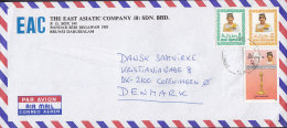 Brunei  Airmail Par Avion EAST ASIATIC COMPANY, DARUSSALAM 1989 Cover To Denmark Lampong Candle Stick - Brunei (1984-...)