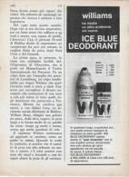 1967 - WILLIAMS Ice Blue Deodorant  -  1  P.  Pubblicità Cm. 13,5 X 18,5 - Riviste