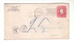Etats Unis D'Amérique USA Entier Postal Los Angeles 1903 Taxe Allemagne Germany Mainz Mayence Jevne
