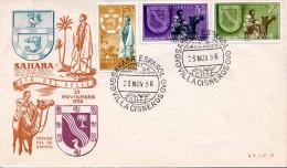 Sahara Espanol 1956 - Erstag Brief? Mit 3 Fach Frankierung + Sonderstempel - 1931-Heute: 2. Rep. - ... Juan Carlos I