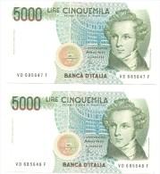 ITALIA N° 2 BANCONOTE CONSECUTIVE DA LIRE 5000  BELLINI SERIE VD 685647 F VD 685648 F  FDS - [ 2] 1946-… : Repubblica