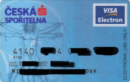 Czech Republic - Ceska Sporitelna - VISA Electron - Drawing Leonardo Da Vinci - Tarjetas De Crédito (caducidad Min 10 Años)