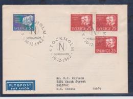 Sweden Scott # 617-619 Registed FDC 1962 Nobel Prize Winner - FDC