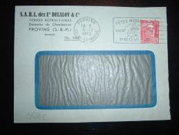 DEVANT LETTRE TP MARIANNE DE GANDON 15F OBL.MEC. 5-12-1950 PROVINS (77) Ets DELALOY & Cie TERRES REFRACTAIRES - Marcophilie (Lettres)