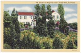 BEVERLY HILLS CA~ ACTOR FILM STAR TYRONE POWER RESIDENCE ~1930s vintage postcard