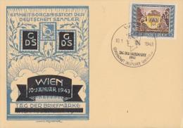 DR Sonderkarte Wien EF Minr.828 SST Wien 10.1.43 FDC - Briefe U. Dokumente