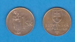 ESLOVAQUIA  1 CORONA  1.993  Bronce Acero KM#12   VF/MBC   DL-11.115 - Slovaquie
