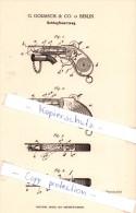 Original Patent  - G. Goliasch & Co. In Berlin , 1886 , Schlagfeuerzeug , Feuerzeug !!! - Sonstige