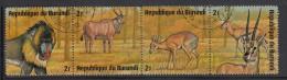Burundi Used Scott #480 Strip Of 4 2fr Mandrill, Eland, Salt`s Dik-dik, Thomson`s Gazelles - Wildlife - Burundi