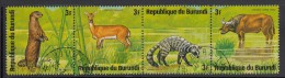 Burundi Used Scott #481 Strip Of 4 3fr African Small-clawed Otter, Reed Buck, Indian Civet, Cape Buffalo - Wildlife - Burundi