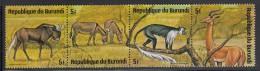 Burundi Used Scott #482 Strip Of 4 5fr White-tailed Gnu, African Wild Asses, Black-and-white Colobus Monkey, Gerenuk - Burundi
