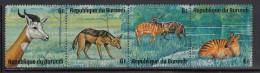Burundi Used Scott #483 Strip Of 4 6fr Dama Gazelle, Black-backed Jackal, Sitatungas, Zebra Antelope - Wildlife - Burundi