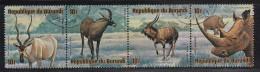 Burundi Used Scott #C218 Strip Of 4 10fr Addax, Roan Antelope, Nyala, White Rhinoceros - Wildlife - Burundi