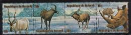 Burundi Used Scott #C218 Strip Of 4 10fr Addax, Roan Antelope, Nyala, White Rhinoceros - Wildlife - Postzegels